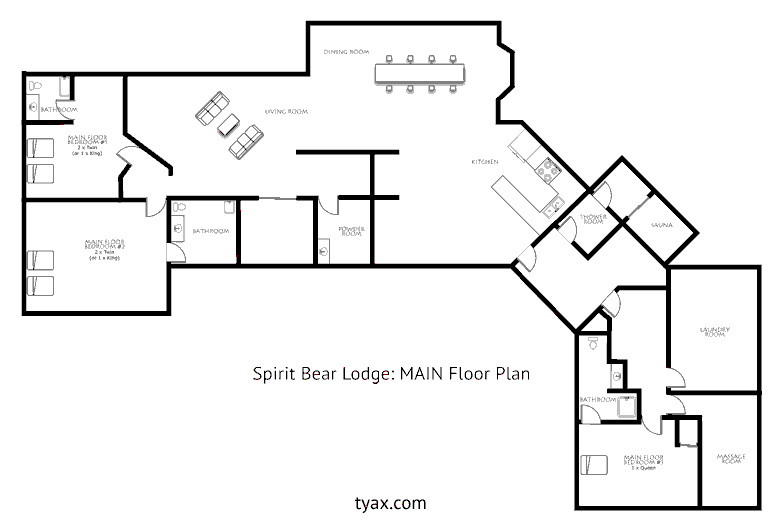 Spirit Bear Lodge Main Floor Plan